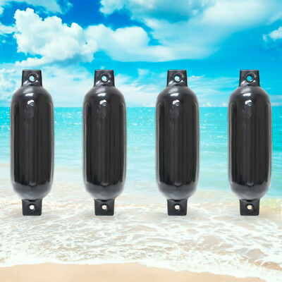 """4 NEW RIBBED BOAT FENDERS 4.5"""" x 16"""" BLACK TWIN EYE BUMPERS MOORING PROTECTION"""