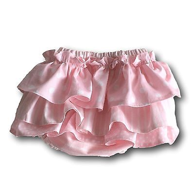 Pink/Stripes Fully Lined Hand Made Nappy/Diaper Bloomers with Ruffles