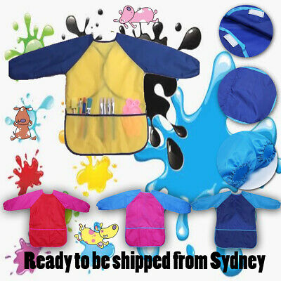 Waterproof Art Smock long sleeve kids painting shirt paint apron school - M