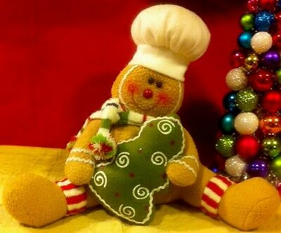 Plush Gingerbread Boy Christmas Tree Holiday Deco Display Prop Sitter