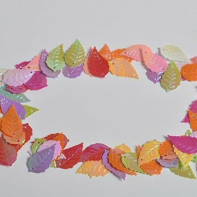 Sewing Cloth Craft Paillette Approx 65pcs 14*25mm Colorful Leaves Shape Sequins