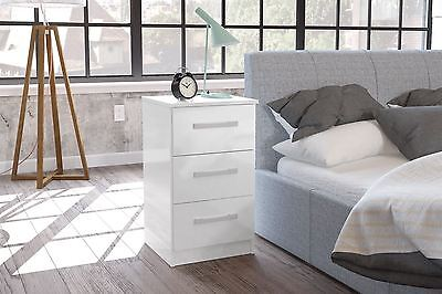 Birlea Lynx High Gloss All White 3 drawer bedside cabinet chest furniture new