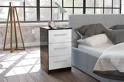 Lynx High Gloss White and Black 3 Drawer Bedside chest new