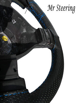 For Vauxhall Zafira A Black Perforated Leather Steering Wheel Cover Sky Blue St