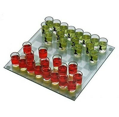 "10"" Drinking Game Glass Chess Set Shot Glass 32  Pieces 1 1/2"" Tall  New"