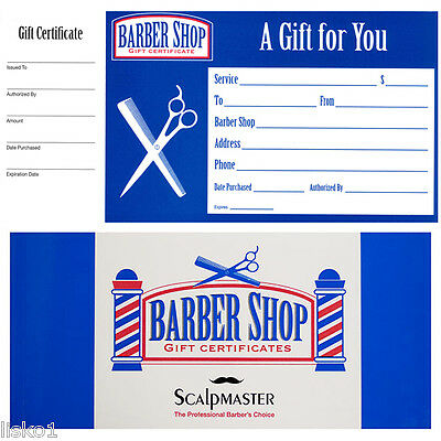 Barber Shop GIFT CERTIFICATES BOOK Book of 50 coupons