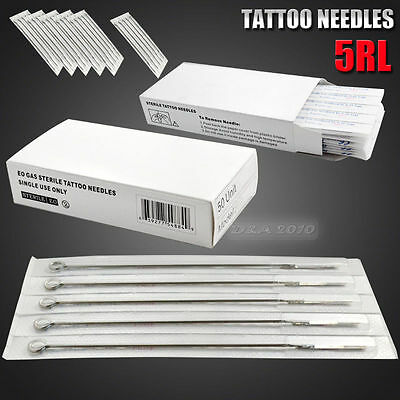 50PCS DISPOSABLE 5RL Round Liner STERILE TATTOO NEEDLES ink machine supplies NEW