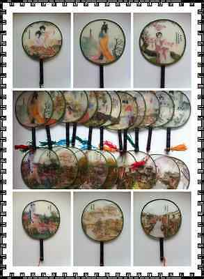 SMALL Chinese Round Silk Fan with Wooden Handle,Decoration,Gift,Party,Dance
