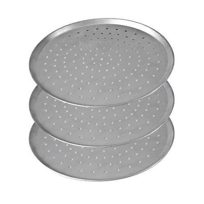 """3x Pizza Pan / Tray 250mm 10"""", Aluminium Perforated Plate, Round Oven Tray"""