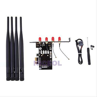 Set Of BCM94360CD BCM94331CD To PCI-E 1X Adapter W/4 Antennas For hackintosh PC