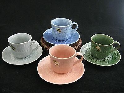 Set of 4 Colors Embossed Fine Ceramic Tea Cup & Saucer Set Made in China