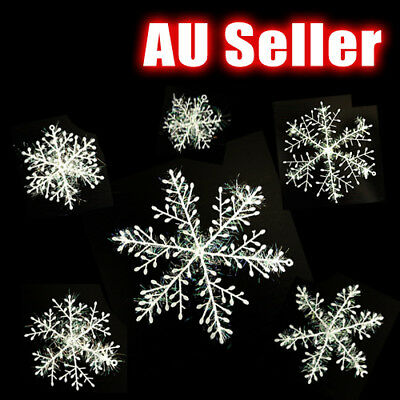 6pcs White Snowflakes Decorations Supplies Hanging Ornaments Gift Christmas AU