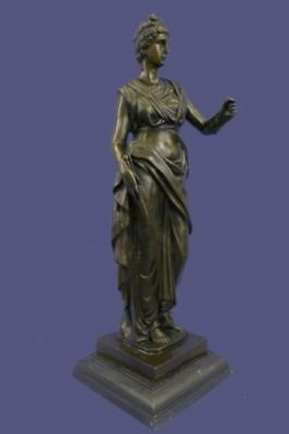 Hot Cast Bronze on Marble Base Roman Goddess Young Woman Statue Sculpture Decor