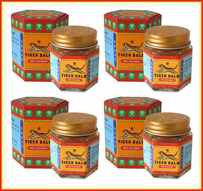 4 x 30 g. (1.06 oz) TIGER BALM RED WARM MASSAGE THAI ORIGINAL
