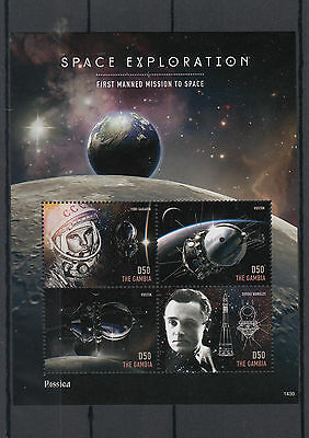 Gambia 2014 MNH Space Exploration Rossica 4v M/S Yuri Gagarin Vostok Korolev