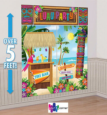 Hawaiian Luau Pool Party Supplies Decorations Tiki Scene Setter Backdrop 5 Pc