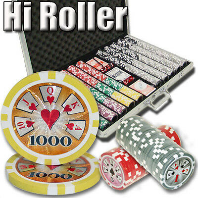 New 1000 High Roller 14g Clay Poker Chips Set with Aluminum Case - Pick Chips!