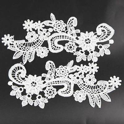 1 Pair Off-white Black Flower Floral Embroidered Polyester Lace Applique Trim