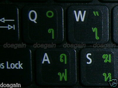 High Quality  THAI KedmaneeTRANSPARENT Keyboard Stickers GREEN Letters