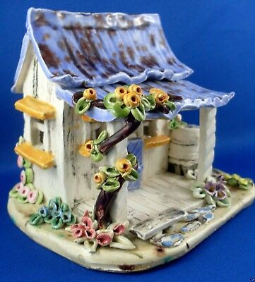 Retro S.J. 1980's Handcrafted Small Cottage Glazed Pottery House - in Australia.