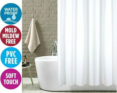 Fabric Shower Curtain Plain White Extra Long Extra Wide Standard With Hooks Ring