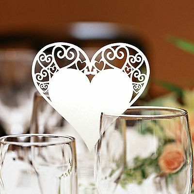Heart Wedding Name Place Cards For Wine Glass Laser Cut On Pearlescent Card