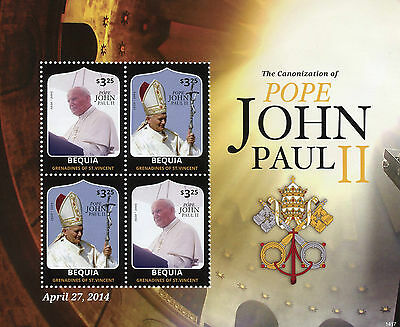 Bequia Grenadines St Vincent 2014 MNH Canonization Pope John Paul II 4v M/S