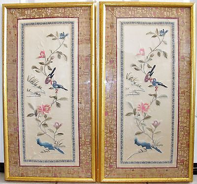 """Two 26.5"""" Framed Chinese Tan Silk Embroidery Panels w/ Birds, Flowers & Brocade"""