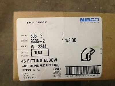 "(10) NIBCO 606-2 COPPER 45 DEGREE ELBOW PRESSURE FITTINGS 1-1/4"" x 1-1/4"" FTG"