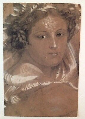 Beautiful 18th / 19th century Charcoal Drawing of Neoclassical Woman