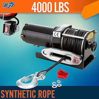 4000LBS / 1814KG Electric Winch Synthetic Rope ATV 4WD BOAT 12V Wired Remote