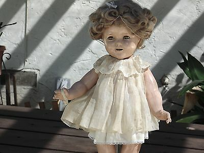 "Shirley Temple 18"" Original Antique Doll with sleepy eyes + EXTRAS"
