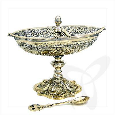 2943 incense boat with hinged lid and spoon, solid brass