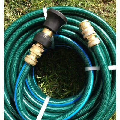 "Garden Water Hose 18MM /3/4"" Brass Fittings100M and Fire Nozzle 8/10 Kink-Free"