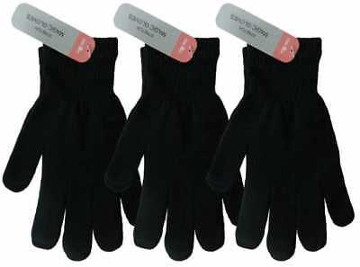Wholesale Lot of 12 pairs of Plain Black Magic Gloves