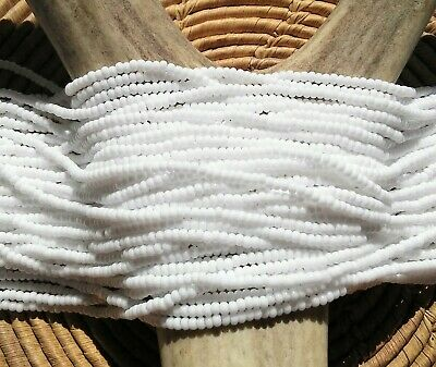 Czech Glass Seed Beads Size 11/0 Opaque WHITE  One Full Hank (03050)