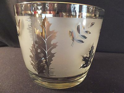 Vintage Libbey Silver Leaf Trim Frosted Glass Ice Bucket Bowl Nice!