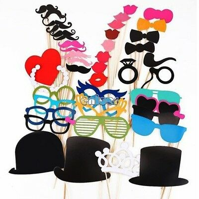 44pcs Colorful Props On A Stick Mustache Photo Booth Party Wedding Christmas ENE