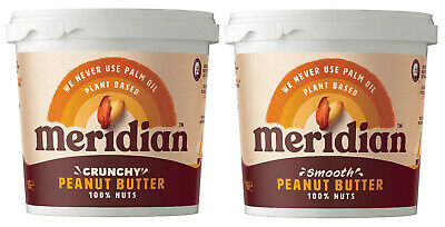 Meridian 1KG Tubs Peanut Butter, Cashew, Almond *Vegan 100% Nuts, No Palm Oil*