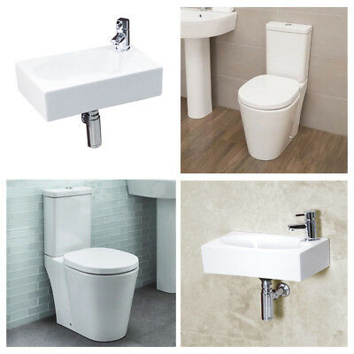 Toilet WC Basin Cloakroom Bathroom Suite Modern Ceramic Wall Hung Sink Square