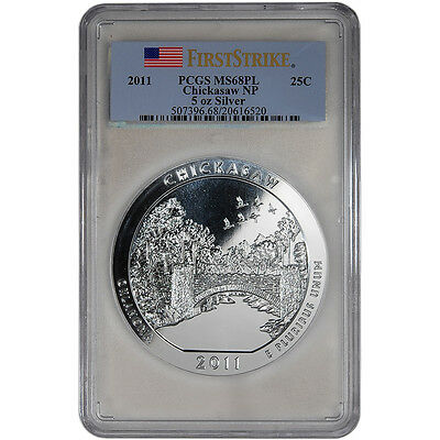 2011 ATB Chickasaw Silver (5 oz) 25C - PCGS MS68 PL - First Strike