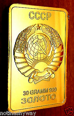 Russia Gold Bar Ingot Coin Medal Soviet Union CCCP USSR Emblem Eagle Red Star UP