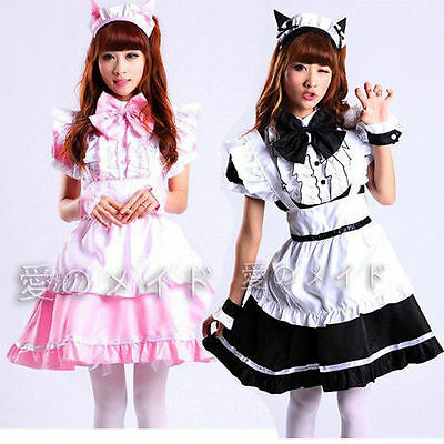 Sexy Cat Black Lolita French Maid Outfit Dress Cosplay Party Set apron Costume
