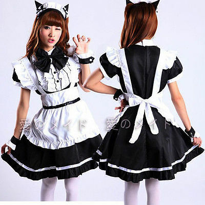 Black Cosplay Lolita French Maid Outfit Sexy Cat Dress Party Set apron Costume