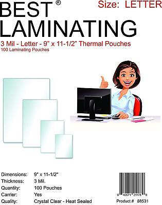 """Best Laminating 3mil. Letter Thermal Pouches. 9"""" x 11.5"""" - 100 Pouches Total"""