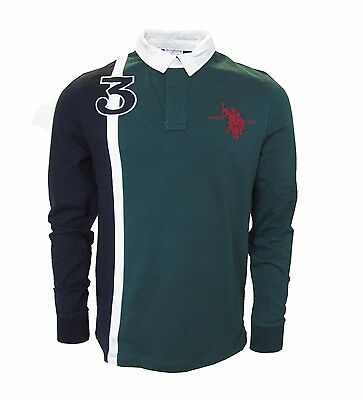 U.S. POLO ASSN. LEO PLAYER Herren,Men,Uomo,Langarm,Polo,Sweatshirt,NEU,Grün,L,XL