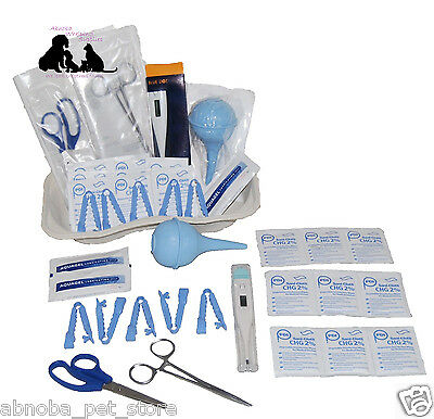 COMPLETE Whelping Kit Forceps Aspirator Wipes Cord Clamp Puppy & Kitten Breeding