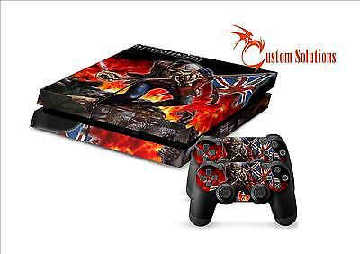 Ps4 Console & Controller Decal Sticker Skin Set Iron Maiden Rock Band Uk Stock