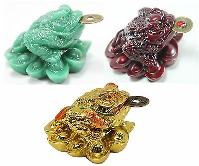 1 Red 1 Green 1 Gold Fortune Gold Money Coin Frog Toad Feng Shui Christmas Gift