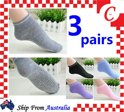 3Pairs Ladies Women Sports Cotton Rich Pilates Yoga Non-Slip Grip Socks Size 2-8